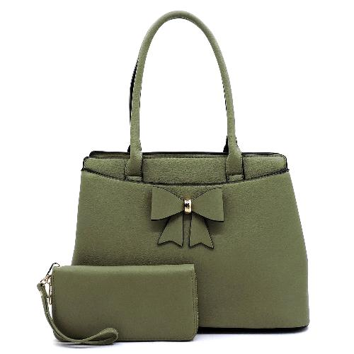 Bow Accent Gold Tone 2-in-1 Satchel green