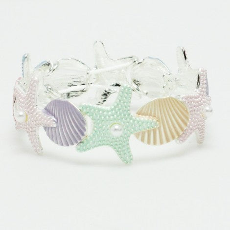 Starfish & Shell Stretch Bracelet Multi