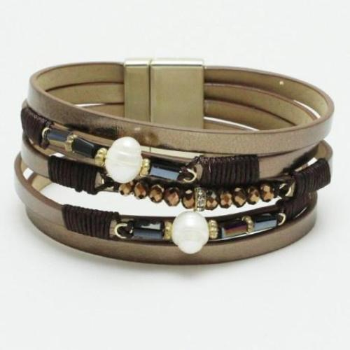 Pearls & Beads Leather Stacked Bracelet Brown