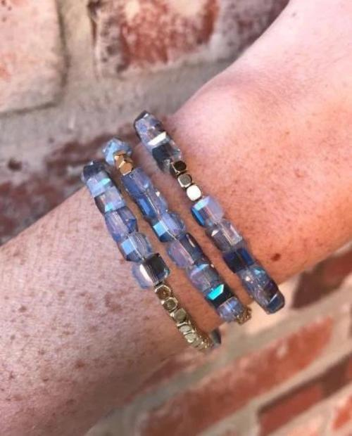 Murna Crystal and Gold Swuare Bead Bracelet Blue
