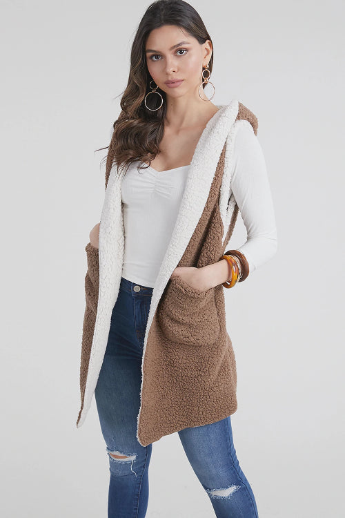 Reversible Hooded Sherpa Vest Taupe