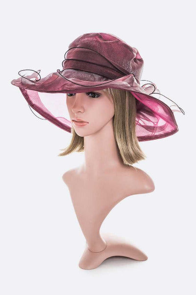 Organza Dress Hat Burgundy