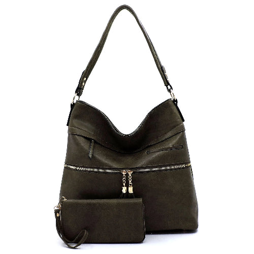 Tassel Zipper 2-in-1 Shoulder Bag Olive