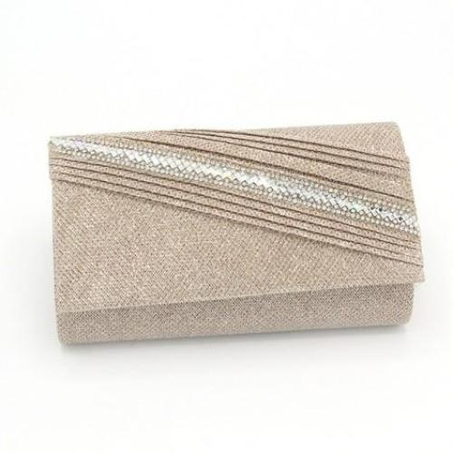 Glitter and Rhinestone Evening Bag Rose Gold