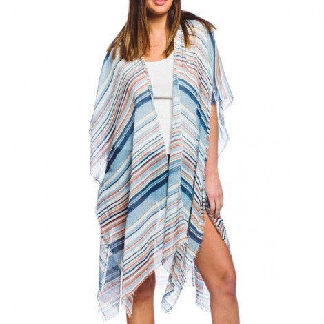 Stylish Multi-Stripe Kimono Blue/Orange