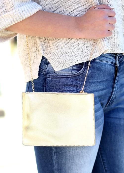 Marissa Metallic Crossbody/Clutch Gold