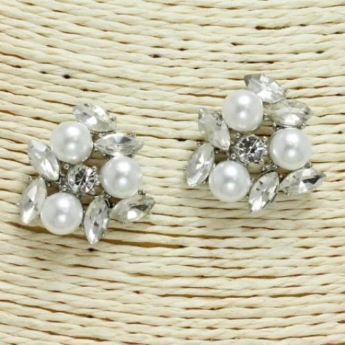 Pearl & Crystal Earrings Silver