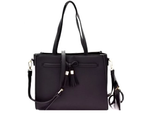 Bow Accent Two-Way Tote/Wristlet Set Black