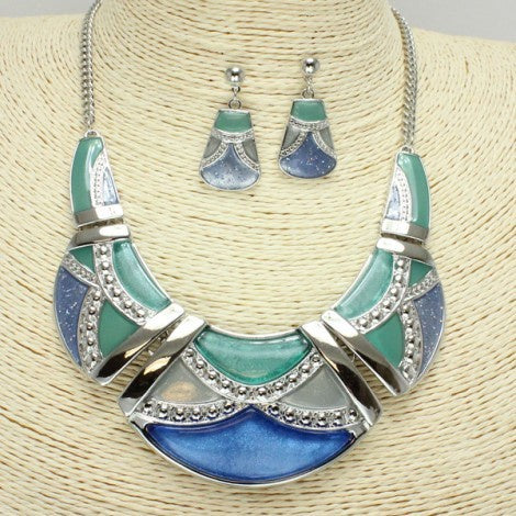 Silver/Blue & Crystal Necklace Set