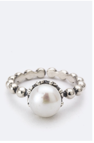 Sterling Silver Adjustable Pearl Ring
