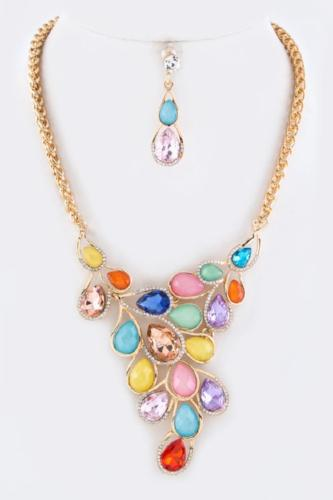 Crystals Teardrop Statement Necklace Set Multi