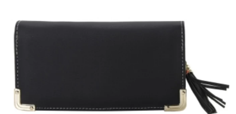 Classic Zip Around Colorblock Wallet Black