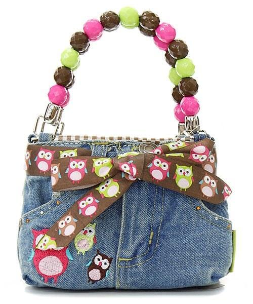 Little Girl's Owl Denim Bootie Bag with Bow