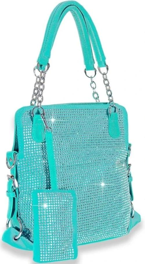 Rhinestone Covered Accessorized Tote Turquoise
