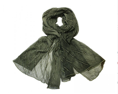 Silk Feel Lined Scarf Green