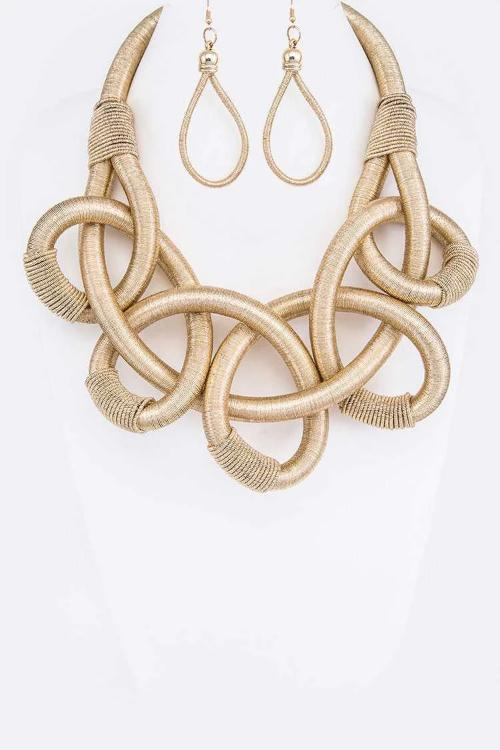 Metallic Rope Knotted Statement Necklace Set