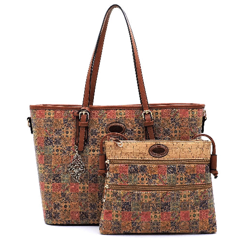 Flower Printed Cork 2-in-1 Shopper & Crossbody Set