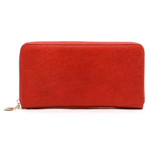 Single Zip Designer Inspired Wallet Red