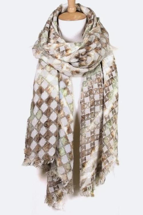 Abstract Mosaic Pattern Fashion Scarf Ivory