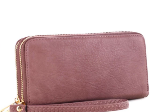 Double Zip-Around Smartphone-Friendly Wristlet/Wallet Mauve