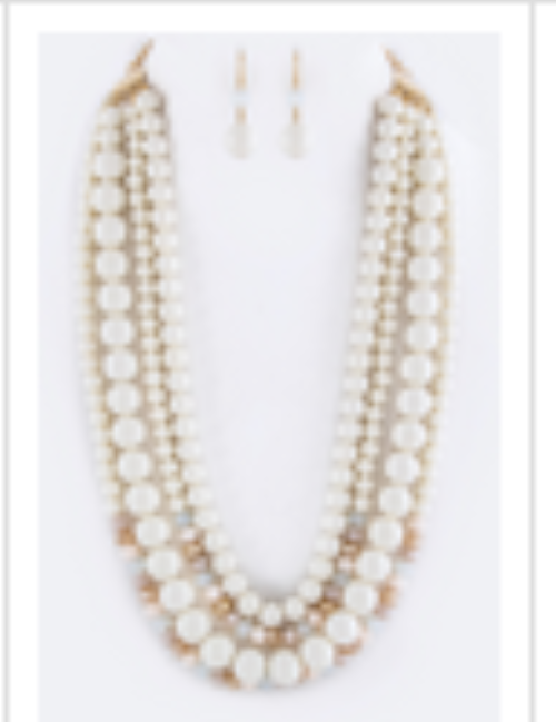 Mix Beads Layer Necklace Set Ivory