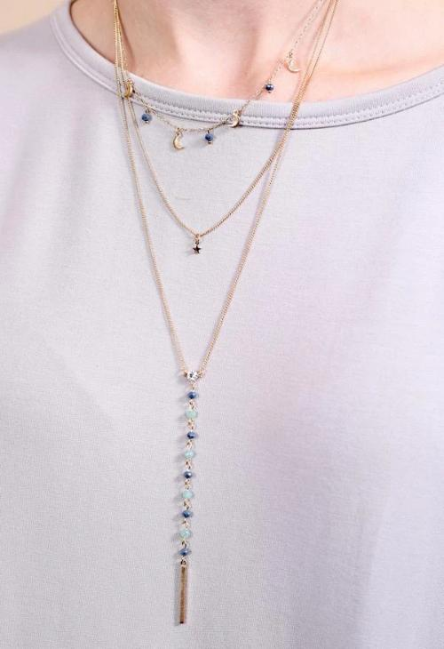 Diaz Multi Strand Y Drop Beaded Necklace With Moons Blue