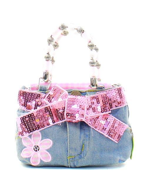 Little Girl's Daisy Denim Bootie Bag with Daisy/Bow