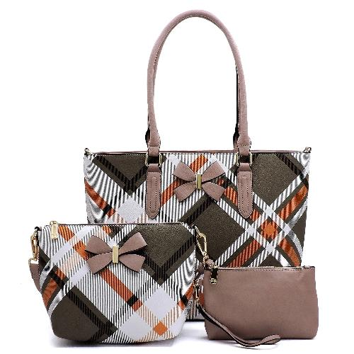Tartan Plaid Check Bow 3-in-1 Shopper Set Blush