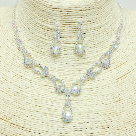 Silver & Iridescent Rhinestone Necklace Set