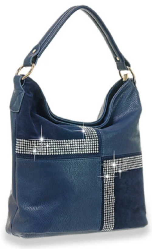 Four Square Design Hobo Handbag Blue