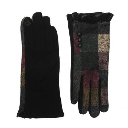 Plaid Ruffle Texting Gloves