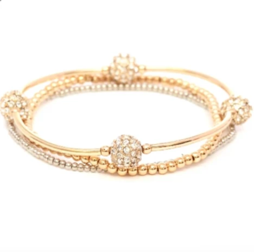 Rhinestone Embellished 3-Layer Stretch Bracelet