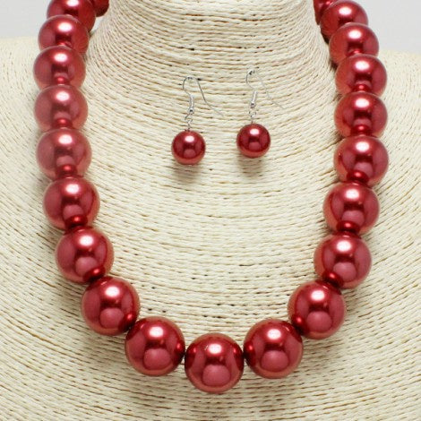 Chunky Pearl Necklace Set Red