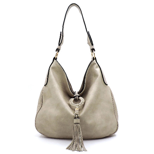 Tassel Accent Hobo Bag Stone