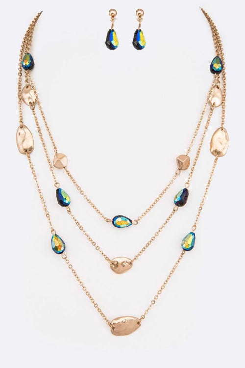 Crystal Layered Necklace Set