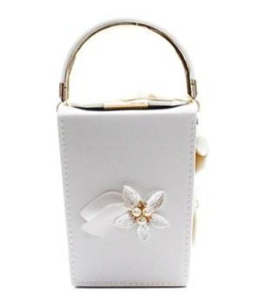 Faux Leather Flower Pearl Clutch Mini Bag