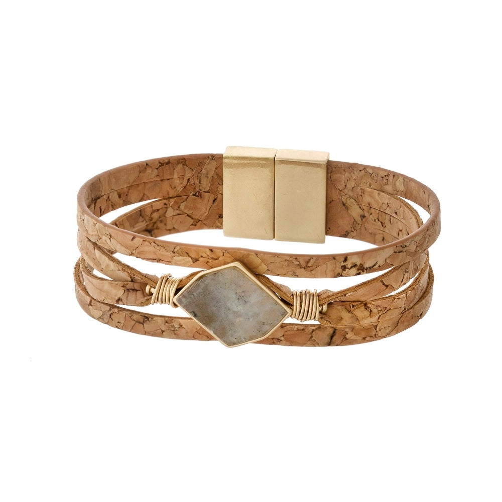 Cork Bracelet with Natural Stone