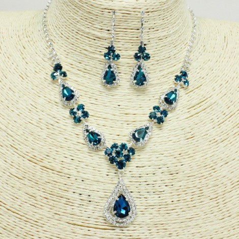 Rhinestone Necklace Set Silver/Teal