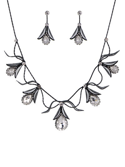 Crystal Stone Bib Necklace Set Black