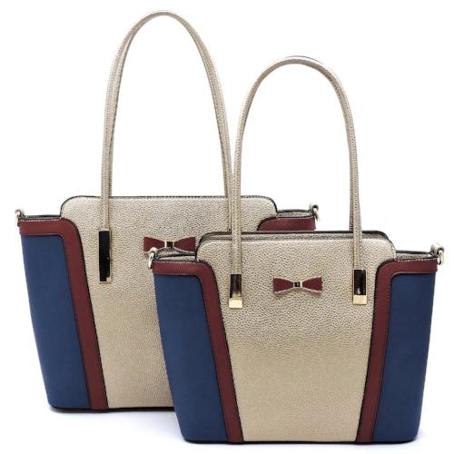Fashion Bow Colorblock 2-in-1 Shopper Tote Champagne