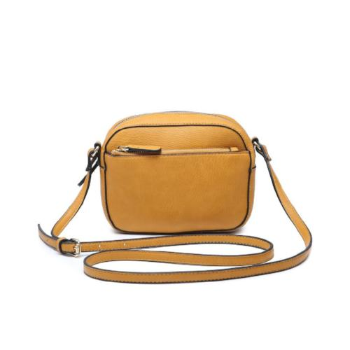 Front Zipper Crossbody Mustard