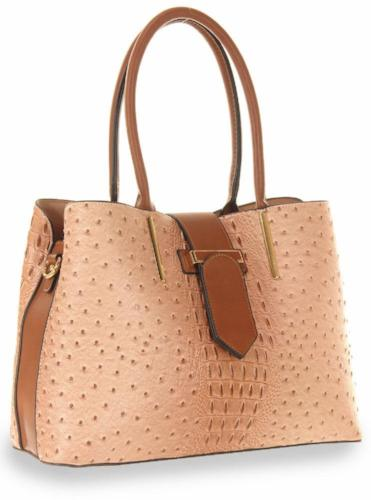 Embossed Two Tone Fashion Handbag Peach