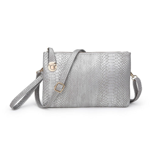 Twist Lock Snakeskin Clutch/Crossbody Silver