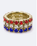 3 Row Crystal Stretch Ring Red, White & Blue