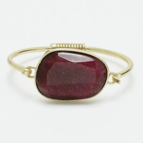 Semi Precious Stone Wired Bracelet Burgundy
