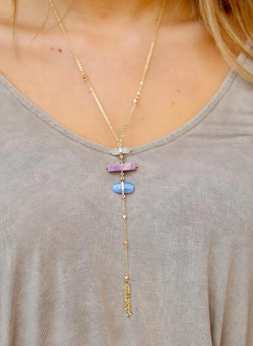 Giles Crystal, Stone, And Opal Delicate Y Necklace Blue