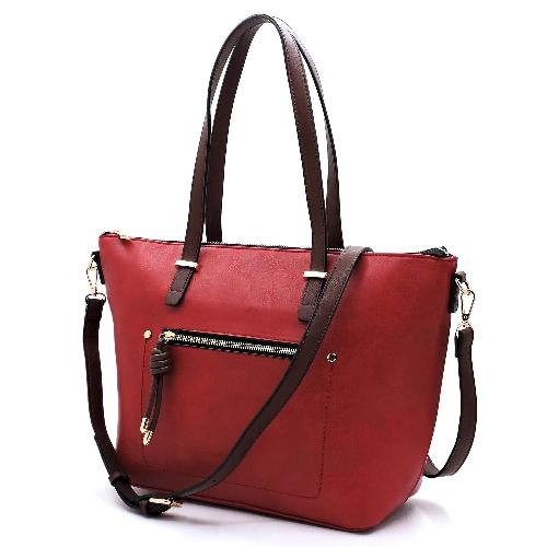 Front Zip Pocket 2-in-1 Shopper Red