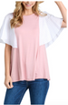 Solid Round Neck Knit Top with Contrast Sleeves Mauve