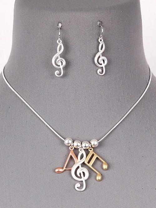 Treble Clef & Notes Necklace Set Two Tone