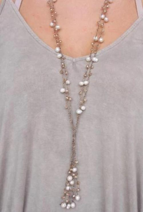Double Layer Cord and Freshwater Pearl Necklace - Champagne